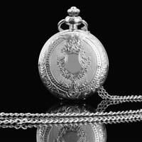 Vintage Antique The Shield Pocket Watch Quartz Necklace Chain Pendant Gift Retro