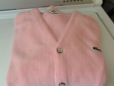 Men's Vintage IZOD LACOSTE Cotton Candy Pink Cardigan Golf Sweater Sz L Made USA