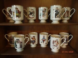 Norman Rockwell Mugs--Danbury Mint--Set of 12--1981