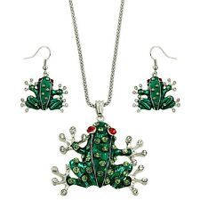 "Exotic Frog Necklace & Earrings Set - Sparkling Crystal - Fish Hook - 17"" Chain"