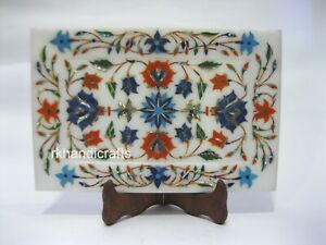 9 x 6 Inches Marble Serving Cum Decorative Tray Semi Precious Stones Inlay Work