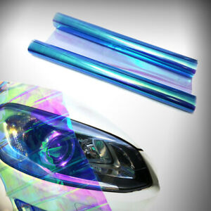 "12""x48"" Chameleon Light Blue Headlight Tint Taillight Fog Light Vinyl Wrap Decal"