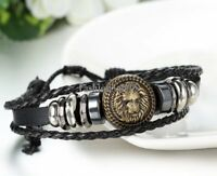 Punk Lion Head Unisex Tribal Adjustable Leather Bracelet Handmade Wristband Gift