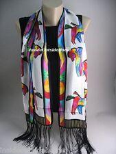 Laurel Burch Rainbow Horses Silk SCARF Wrap on White Fringe NEW