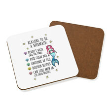 Reasons To Be A Mermaid Coaster Drinks Mat - Funny