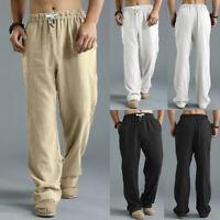 Plus Size Men's Thin Trousers Linen Loose Outdoor Summer Solid Sportswear Pants