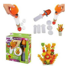 NEW Salad Vegetable shaper Pop Chef Fruit Popper Push Pop and Eat With 6 shapes