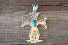 Navajo Nickel Silver Turquoise Cross Pendant Bobby Cleveland