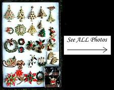 (LOT X170) VTG Costume Jewelry / Holiday Pins Earrings Bracelets Necklaces Rings