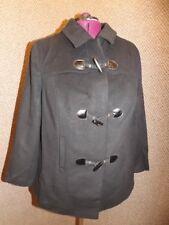 NEW Jessica London Jet Black Wool Short Tailored Toggle Coat Womens 20 Duffle