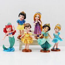 "Disney Princesses Set Of 6  3-1/2"" Birthday Cake Topper Figurines Toy Set"