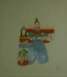 Japanisches Rollbild Kakejiku Kakemono Hina Puppen Japan Scroll 3727
