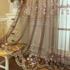 DIY Tulle Voile Door Window Curtains Embroidery Drape Panel Sheer Scarf Divider