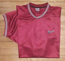 Nike Shirt Athletic Sport Xl Black Swoosh Solid Maroon White Trim s4056
