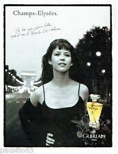 PUBLICITE ADVERTISING 116  1996  Guerlain parfum Champs-Elysées Sophie Marceau
