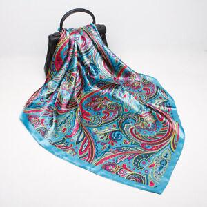 "Blue Paisley Print Square Scarf Women Fashion Faux Silk Shawl Hijab Wrap 35""*35"""