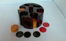 Vintage Art Deco Bakelite Poker Chip Set Marbled Butterscotch Red Green