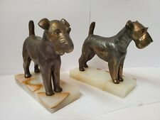 Vintage Airedale Irish Terrier Dog Bookends Bronze Brass Marble Base Art Deco