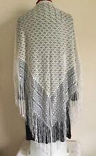 """Vintage Rayon Solid Ivory& White Lace Shawl Wrap W/ Fringe 72 X 39"""" Boho Gypsy"""