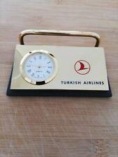 Tischuhr mit Ablage für Visitenkarten THY Turkish Airlines Hochwertig Rarität...