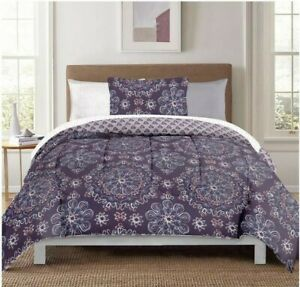 NEW Berkshire Life Studio Style 8 Piece Comforter Set - TWIN XL - Purple Multi
