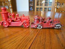 "Vintage Hubley Cast Iron Toy Fire Pumper Truck 5"" & Reproduction Fire Pumper 5"""
