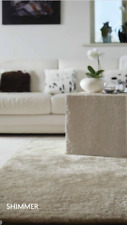 Origin Shimmer Shine Shaggy Glamour Contemporary Rug Champagne 4 Sizes