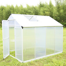 6'x8' Outdoor Aluminum Polycarbonate Roof Vent Walk-in Large Nursery Greenhouse
