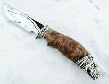 CooB HAND MADE Hunting Knife Knives RHINO Stainless Steel Blade, Burl Handle
