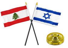 "Lebanon And Israel Flag 4""x6"" Desk Set Table Stick Gold Base"