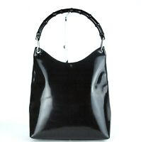 Authentic GUCCI Black Patent Leather Bamboo One Shoulder Hand Bag Purse Vintage