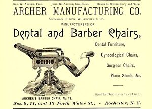 1890 ARCHER MFGR CO, ROCHESTER, NEW YORK ARCHER'S BARBER & DENTAL CHAIRS AD