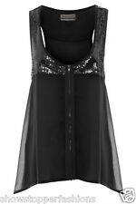 NEW Womens Sequin Chiffon Top Ladies Black Sleeveless Blouse Size 8 10 12 14 16