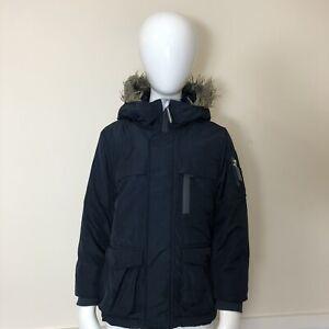 Next Boys Navy Blue Thick Warm Hooded Long Parka Jacket Coat UK Age 4 Years