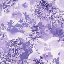Lilac Fairy Dreamland  Metallic HLs Michael Miller Cotton Quilting Fabric 1/2 YD