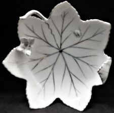 Vintage White Porcelain Maple Leaf Ashtray with Butterfly Rest & Silver Accents