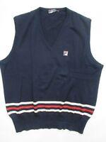 Vtg Fila Mens Vest 3 Stripe Men's Navy Blue Made in ITALY Size 46