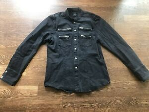 Tripp NYC Women's Denim Shirt Jacket Large Skull Snaps Goth Punk