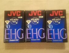 VHS-C New! Lot of 3 JVC TC-30 Compact VHS EHG High Energy Camcorder Tapes