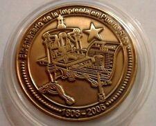 2006 Medalla BICENTENARIO de la IMPRENTA Bronce SOCIEDAD NUMISMATICA PUERTO RICO