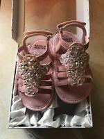 Badgley Mischka Baby Caralee Size 4 Pink Rhinestone NIB