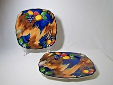 2 H & K Tunstall Autumn Square Luncheon  Plates Fruit Leaves Cobalt England
