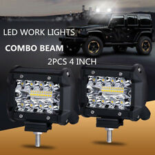 2x 4inch 200W CREE LED Work Light Bar Pods Flush Mount Combo Driving Lamp 12V cc