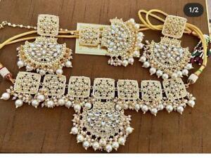 Indian Bollywood Style Choker CZ AD Wedding Gold Fashion Jewelry Necklace Set Bd