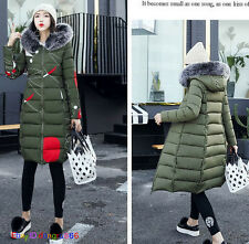 Women Winter Down Cotton Parka Long Fur Collar Hooded Coat reversible Jacket