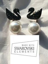 Famous Black Swan earrings with sim Pearl Jack Made W/ SWAROVSKI CRYSTAL -