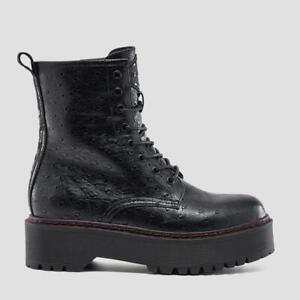 Replay Schuhe Stiefelette Damen Plateau Boots Kelly Rote Naht