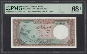 Syria 50 Pounds 1973 UNC (Pick 97b) PMG-68 EPQ