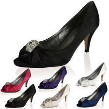 Mid Heel (1.5-3 in.) Kitten Satin Peep Toe Shoes for Women