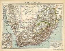Alte historische Landkarte 1898: Kapkolonien. Kolonien Südafrika Afrika (B14)